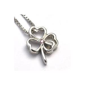 天然ピンクダイヤモンドのシルバーネックレス 四つ葉のクローバー.jpg